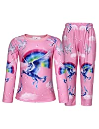 AmzBarley Rainbow Unicorn Girls Pajama Set Long Sleeve Shirt Pants Clothes