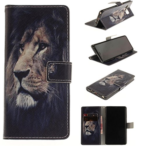 Note 8 Case, Galaxy Note 8 Case, Jenny Shop Premium Pu Leather Flip Folio Stand Feature Magnetic Closure Protective Shell Wallet Case with Card Slot (Lion)