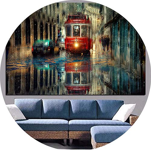 (Retro Lisbon City Street Landscape Oil Painting on Canvas Art Posters and Prints Scandinavian Wall Picture for Living Room Cudro,Unframe 60x90cm,Unframed)