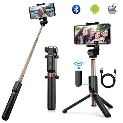 Bluetooth Selfie Stick Extendable Selfie Stick with Wireless Remote and Tripod Stand 360 Degree Rotation Mini Selfie Stick for iPhone x 8 6 7 plus Android Samsung Galaxy and More by OUSUM