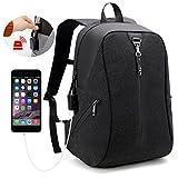 "AH ARCTIC HUNTER Laptop Backpack,Computer Bag for Men & Women, Anti Theft Water Resistant School Bookbag, Slim Business Backpack USB Charging Port Fits Under 15.6"" Laptop & Notebook (Black)"