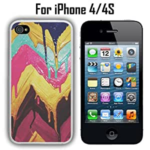 Wet Paint Chevron Custom Case/ Cover/Skin *NEW* Case for Apple iPhone 4/4S - White - Rubber Case (Ships from CA) Custom Protective Case , Design Case-ATT Verizon T-mobile Sprint ,Friendly Packaging - Slim Case