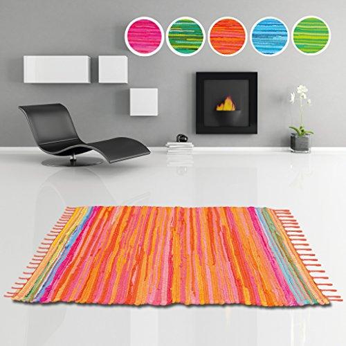 Flickenteppich Läufer aus 100% Recycelter Baumwolle, Auswahl: 50 x 80cm, orange - coral