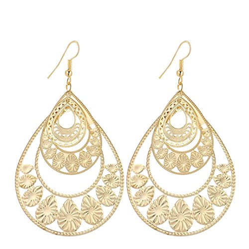 IDB Productions IDB Delicate Filigree Dangle Large Water Drop Hook Earrings - available in silver and gold tones (Gold tone) -