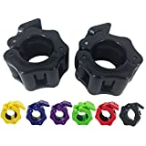 Greententljs 1 Inch Barbell Clamps Clip Quick Release Locking Barbells Pro Workout Weight Collar Clips Lock Weights Plates 1'' Diameter Standard Bar for Weightlifting Fitness Training(Black)