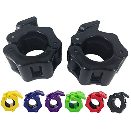 Greententljs 1 Inch Barbell Clamps Clip Quick Release Locking Barbells Pro Workout Weight Collar Clips Lock Weights Plates 1'' Diameter Standard Bar for Weightlifting Fitness Training(Black) (Bar 1)
