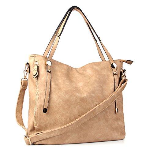WISHESGEM Women Handbags PU Leather Tote Shoulder Bags Satchel Zipper Cross Body Bags - Apricot Handbag Leather