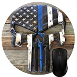 Wknoon Round Mouse Pad Customized Design, Vintage Rustic Wood Thin Blue Line American Flag Skull Art Circular Mouse Pads