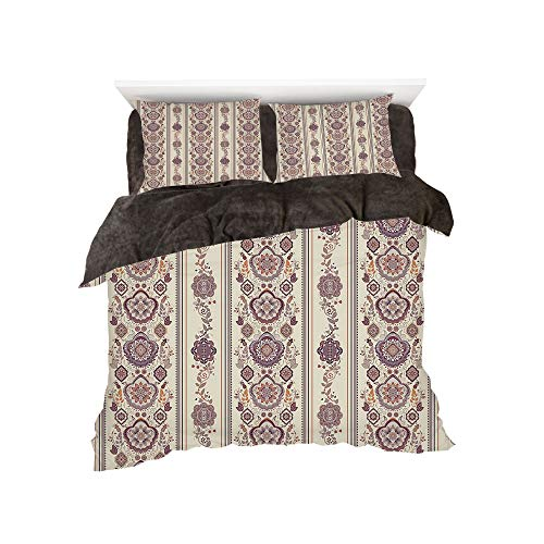 All Season Flannel Bedding Duvet Covers Sets for Girl Boy Kids 4-Piece Full for bed width 4ft Pattern by,Floral,Middle Eastern Ottoman Medieval Authentic Ornamental Arabesque Pattern,Eggshell Dried Ro -