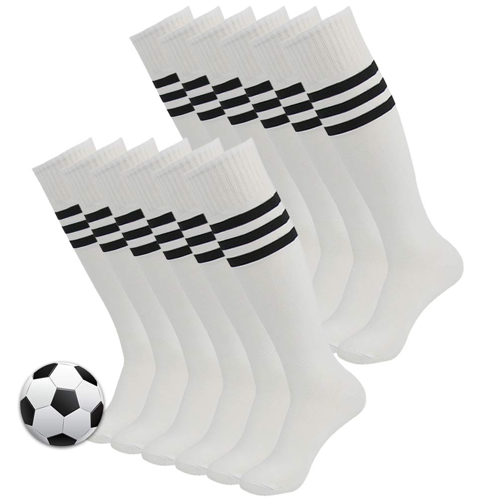 Winter Soccer Socks, 3street Men and Women Youth Sport Performance Cushioned Athletic Striped Long Tube Softball Baseball Volleyball Socks White 2 Pairs by Three street