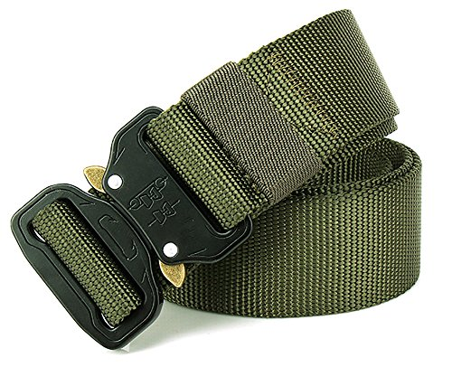 Review Fairwin Tactical Belt, Military Style Webbing Riggers Web Belt with Heavy-Duty Quick-Release Metal Buckle in Delicate Gift Box (Military-Green)