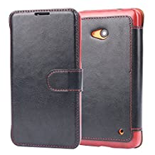 Lumia 640 Case,nokia lumia 640 Case Wallet,Tisuns [Layered Dandy][Black] - [Ultra Slim][Wallet Case] - Leather Flip Cover With Credit Card Slot for lumia 640 Case,nokia lumia 640 Case