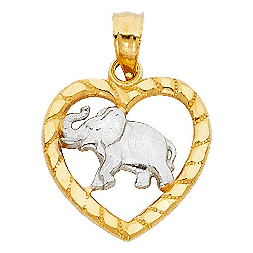 14k Solid Yellow & White Gold Elephant & Heart Pendant Good Luck Charm Diamond Cut Fancy 15 x 16 (Good Luck Heart Charm)
