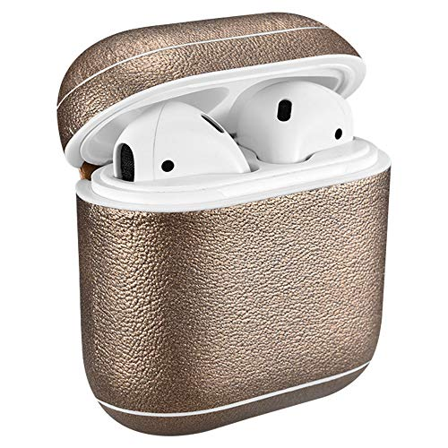 Handmade Protective Leather Apple AirPods Case for Apple AirPods Charging Case [Front LED Not Visible] [Supports Wireless Charging] (Gold)