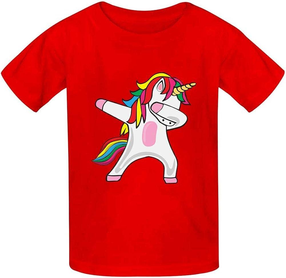 DAGARR Dab Unicorn Rainbow Boys Girls Print Cool T-Shirt Teen Kid Short Sleeve Pullover Tees