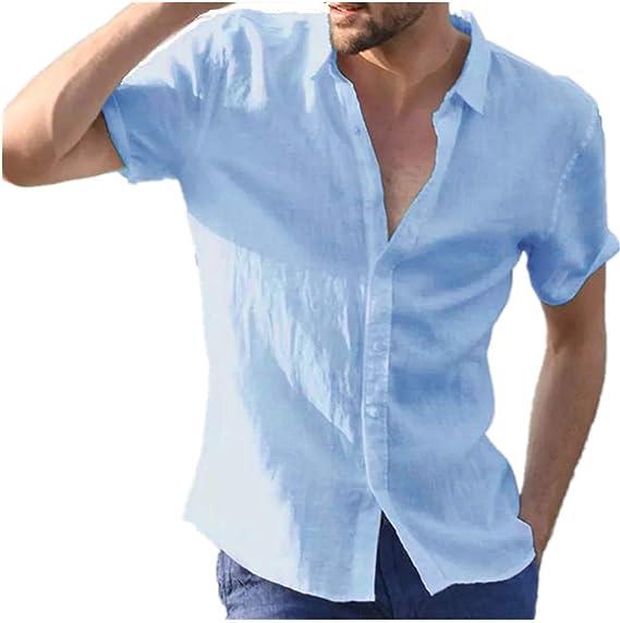 Verano Casual Color SóLido Solapa SeccióN Delgada Camisa De ...
