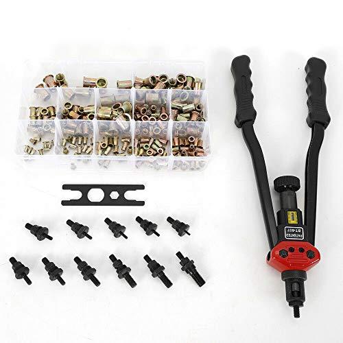 228Pcs Rivet Nut Gun Kit 17 Inch Hand Blind Riveter RivNut Riveting Tool Durable Metal Rivet Gun Setting Kit