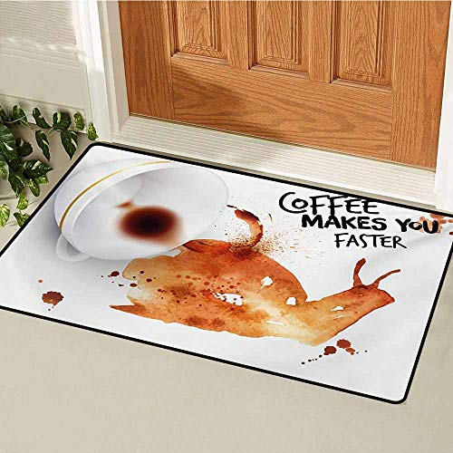 (GUUVOR Coffee Art Commercial Grade Entrance mat Abstract Watercolor Style Snail with Lettering Hot Morning Drink for entrances garages patios W23.6 x L35.4 Inch Burnt Sienna Black White)