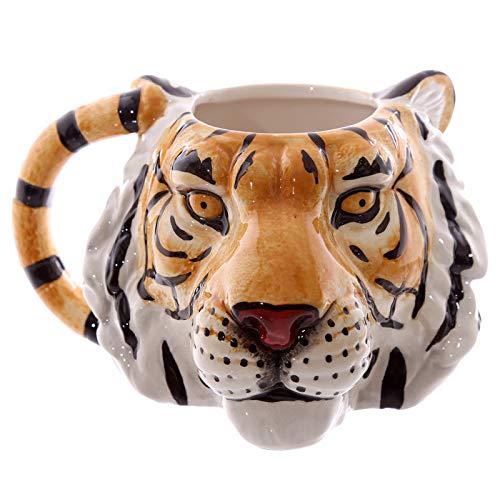 FidgetFidget Wildlife Tiger Face Mug 3D Tiger Head Ceramic Mug Cup Animal Coffee Mug Tea Cup
