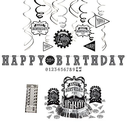 Chalkboard Happy Birthday Decorations Party Pack | 24 Paper Straws, 1 Happy Birthday Party Banner, 1 Table Decorating Kit With Centerpieces and Confetti, and 12 Happy Birthday Hanging Swirls]()