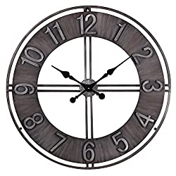 NIKKY HOME Metal Eye Wall Clock, 30'', Black