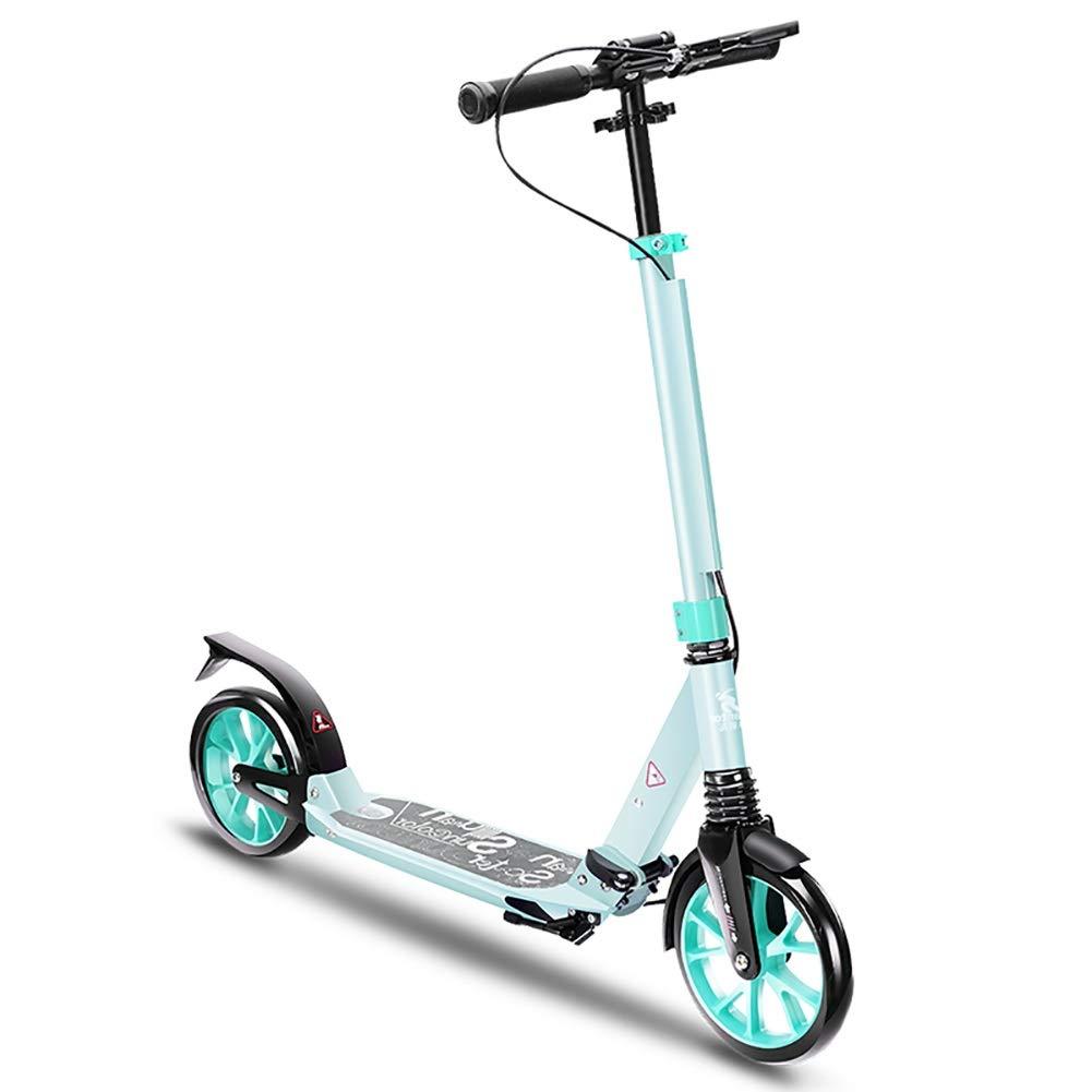 キックボード本体 折りたたみ大人用スクーター、ディスクハンドブレーキ、調節可能ハンドルグリップ、2輪キックスクーター、220lbs容量 (色 : 青) 青