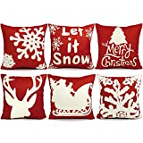 USTYLES 6PCS Christmas Pillow Covers 18 X 18 Christmas Decorations Pillows Covers Christmas Decorative Throw Pillows Cases Sofa Indoor Outdoor Home Décor