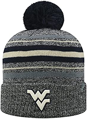 bc209724a Top of the World West Virginia Mountaineers Official NCAA Cuffed Knit Sock  Hop Stocking Stretch Hat Cap Beanie Pom 476261