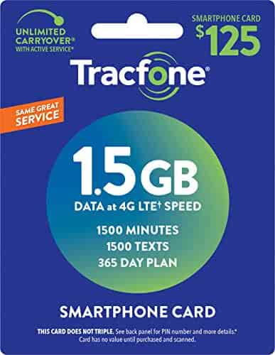 TracFone (Smartphone Only) Airtime Prepaid Service Card - Mail Delivery - 1.5GB Data / 1500 Minutes / 1500 Texts (1500 Minutes / 1500 Texts / 1.5GB Data, 365 Days)