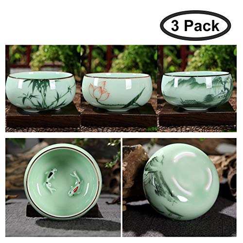 HOTUMN Celadon Teacup Porcelain Chinese kungfu Teacup Fishes and Lotus Pattern set of 3 2018 NEW (3 pack) (Porcelain Chinese Celadon)