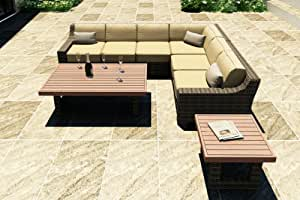 Forever Patio 6 Piece Bayside Modern Outdoor Wicker Sectional Set with Gold Sunbrella Cushions (SKU FP-BAY-6SEC-SW-WM)