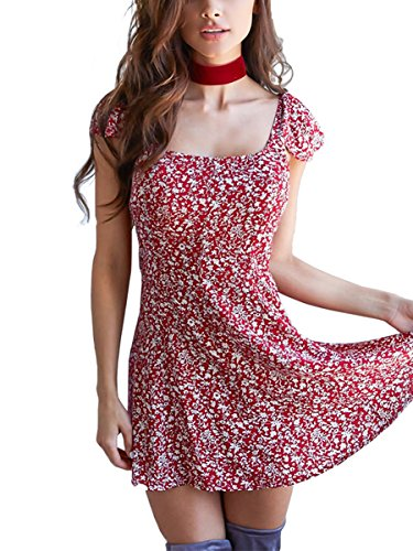 Simplee Apparel Women's Boho Floral Print Backless Short Beach Dress Sundress Red