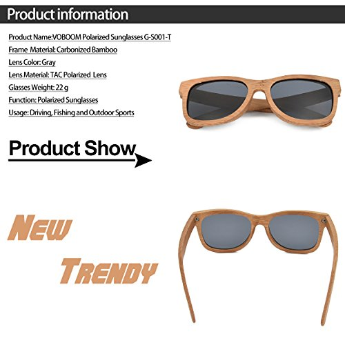 61a65c4308 VOBOOM Men Women Carbonized Bamboo Sunglasses Polarized Bamboo frame  Sunglasses Eyewear with original package G-S001-T - Buy Online in UAE.