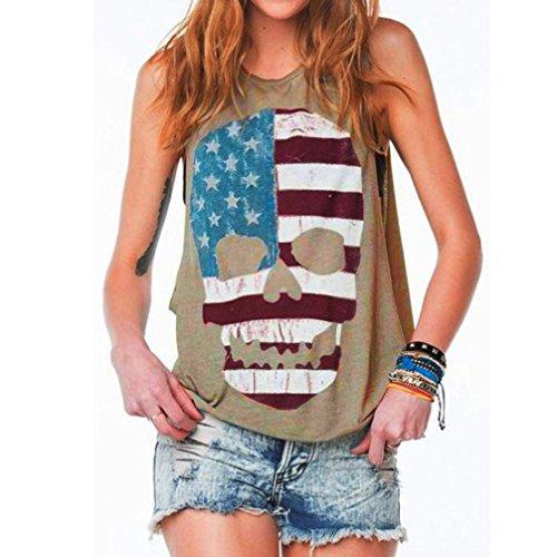 Sexy Vest T Grigio donna Camicia Top Cami Summer Casual da l senza Crop Camicetta Top Bralette maniche Canotta Tank Skull Print shirt Lmmvp Shirts Grigio nxw7fI