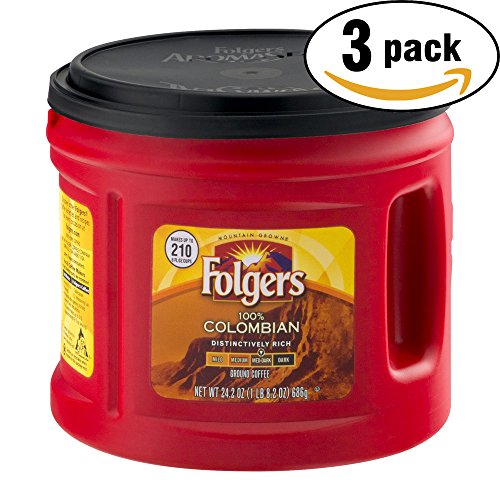 Folgers 100% Colombian Med-Dark Ground Coffee, 24.2 OZ Tub (Pack of 3, Total of 72.6 Oz)