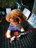 Pet Costume Funny Guitar Player Style Dogs and Cats suit for Christmas Cosplay Party (L, Blue)