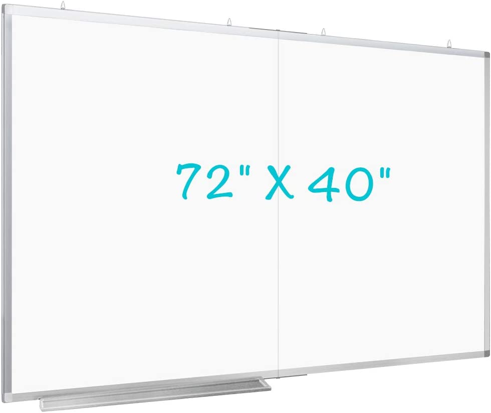 72 x 40 inches Large Magnetic Dry Erase Board with Pen Tray | Wall-Mounted Aluminum Message Presentation Memo White Board for Office Home and School