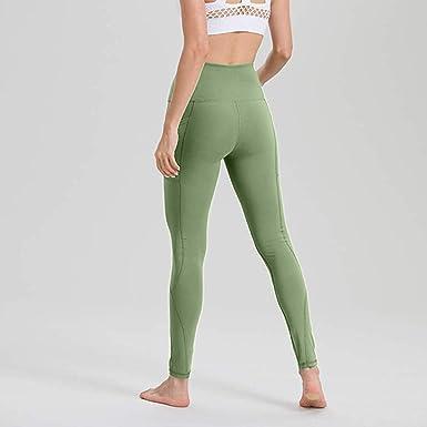 wojiaxiaopu Leggings Deportivos con Bolsillos Mujer Leggings De Algodón Suave Pantalones De Yoga Verde Verde XL: Amazon.es: Ropa y accesorios