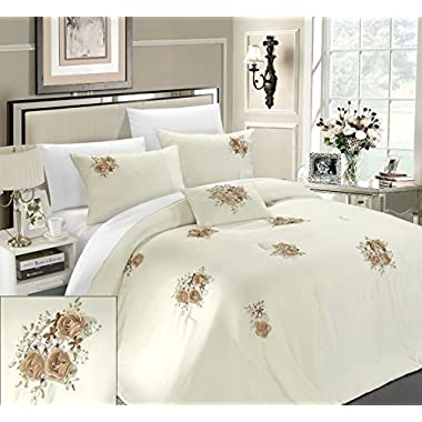 Chic Home Rosetta 5-Piece Comforter Set, Queen, Beige