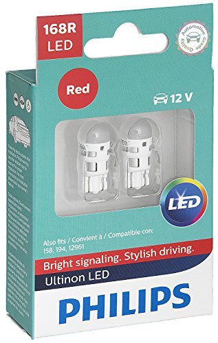 Philips 168 Ultinon LED Bulb (Red), 2 Pack