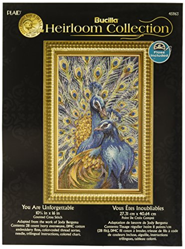 Bucilla Heirloom Collection Counted Cross Stitch Kit, 12 by 16-Inch, 45963 You Are Unforgettable