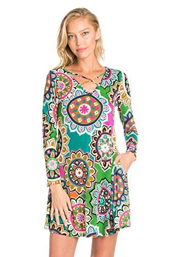 Apple Pocket Skinny Jean (5Thread Women's Casual Print Long Sleeve Front Strappy Tunic Dress Top W/Side Pocket (XXX-LARGE, APPLE/ORANGE/BURGUNDY HY))