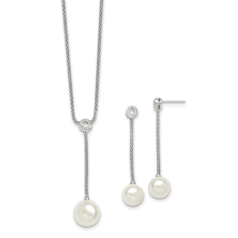 Sterling Silver Beaded Necklace Jewelry Sets Solid Majestik 10-12mm Shell Bead CZ Ear Neck Set