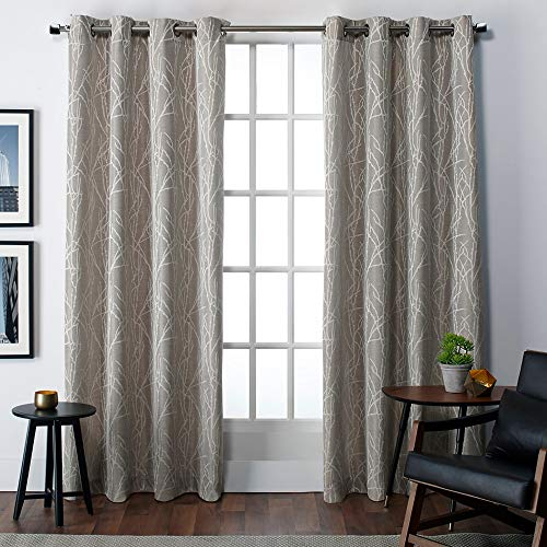 Exclusive Home Curtains Finesse Branch Print Grommet Top Curtain Panel Pair, 54x84, Natural, 2 Piece