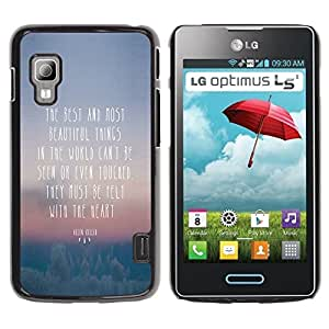 Paccase / SLIM PC / Aliminium Casa Carcasa Funda Case Cover para - Beautiful Thing Felt Heart Quote Seen Touched - LG Optimus L5 II Dual E455 E460