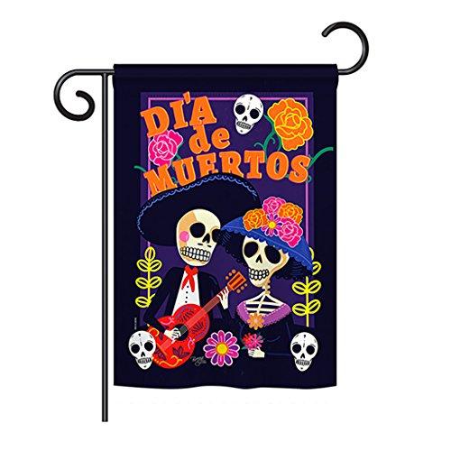 Breeze Decor G162077 Dia de Muertos Couple Fall Halloween Impressions Decorative Vertical Garden Flag 13