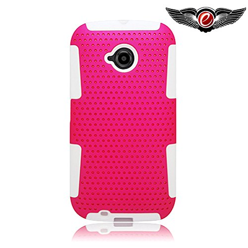 EagleCell - For Motorola Moto E (2nd Gen. 2015) E2 XT1527 - Hybrid TPU Mesh Net Protective Case Cover - White/Hot ()