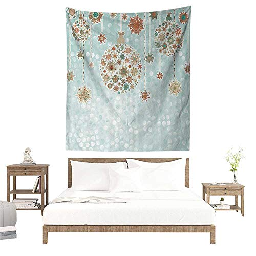 alisoso Wall Tapestries Hippie,Christmas Decorations Collection,Xmas Balls Vintage Bright Celebration Decor Winter Wonderland Themed Snowflakes,Bl W47 x L47 inch Tapestry Wallpaper Home Decor