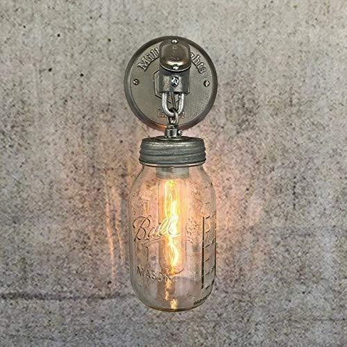 Farmhouse Wall Decor Exposed Conduit Vanity Light The JAR OF LIGHT QUART Mason Jar Light Fixtures Rustic Wall Sconce Pipe Light with Galvanized Chain