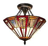 Fine Art Lighting Tiffany Semi-Flush Lamp - 15 by 15-Inch - 217 Glass Cuts